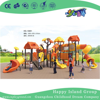 Outdoor Large Tree House Galvanized Steel Playground Equipment for Children with Clock Decoration (HG-10301)