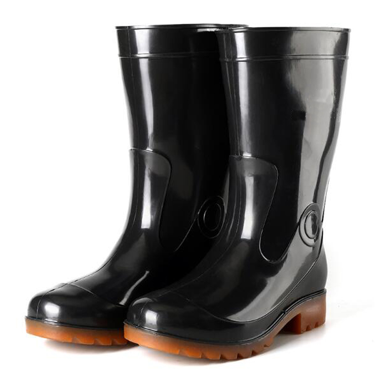 Black non safety men pvc rain boots without steel toe