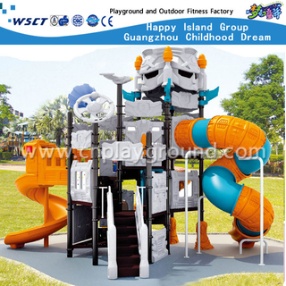 Selling Well Outdoor Children Robot Galvanized Steel Playground with Plastic Slide Equipment (HA-06401)