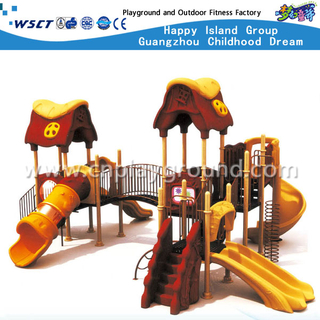 Outdoor Yellow Plastic Slide Castle Galvanized Steel Playground Set(HA-08201)