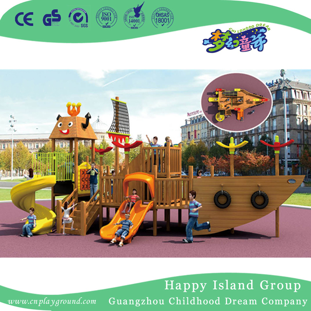 Outdoor Wooden Pirate Ship Children Slide Playground Hf 16801 From