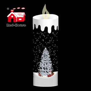 Indoor christmas decorations big candle with christmas lighting and rotating santa claus