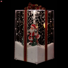 Red House Transparent Falling Snow Musical Gift Box for Christmas