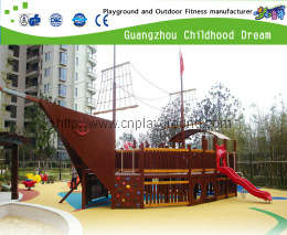 Outdoor Pirate Ship Wooden Playground Equipment For Family From