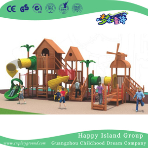 Outdoor Wooden Playhouse Playground Equipment With Cylinder Slide(1908503)