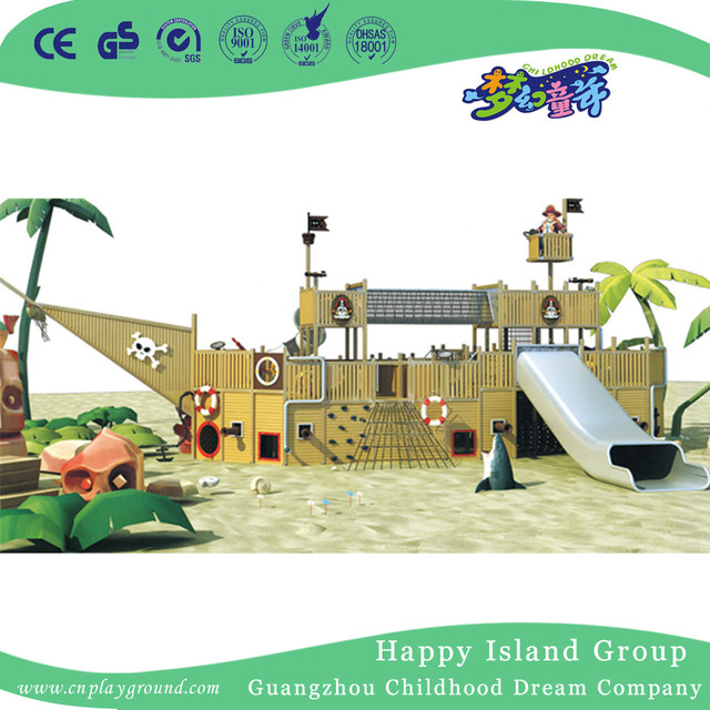 Outdoor Large Kindergarten Wood Pirate Ship Playground (HHK-5702)