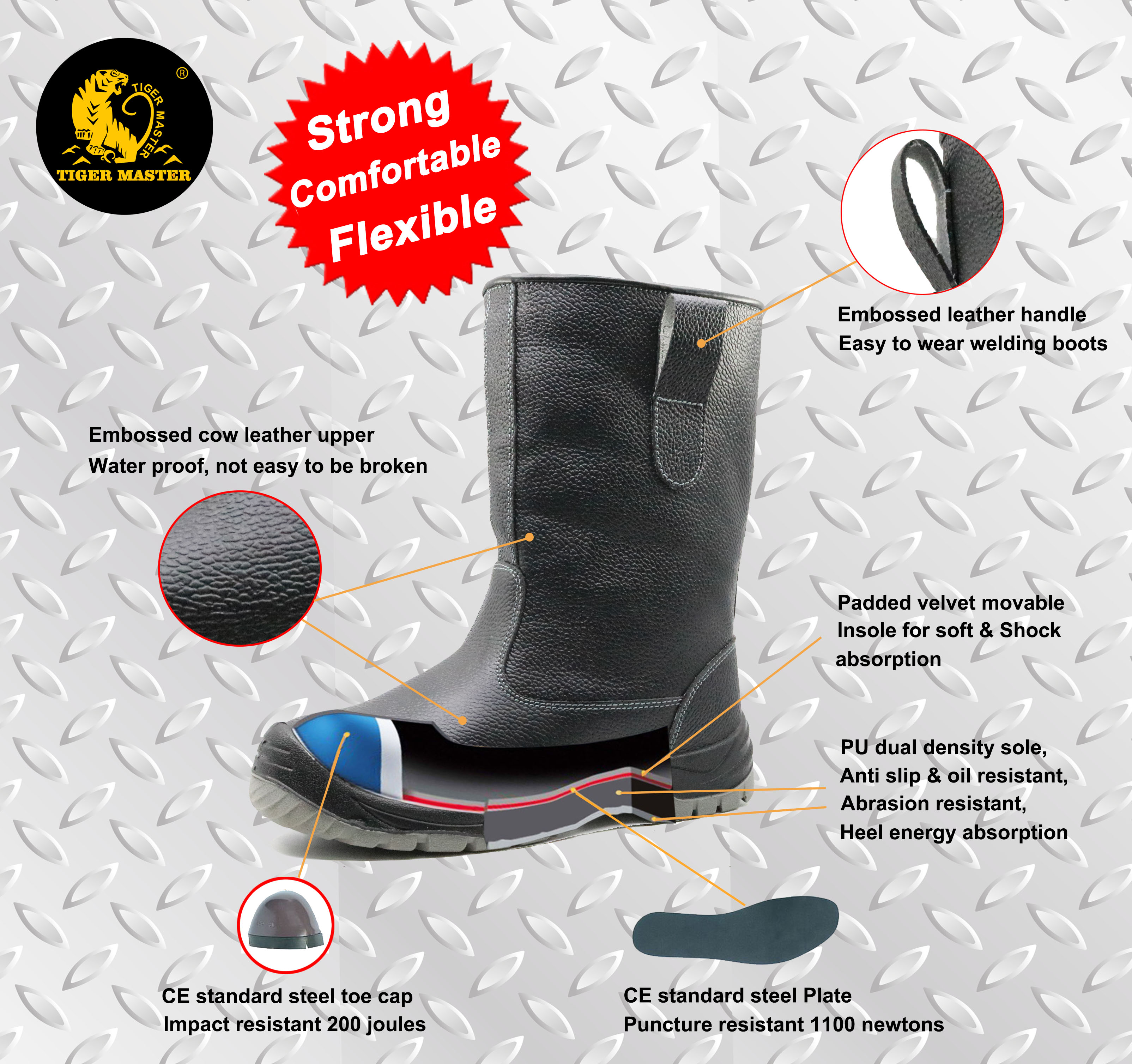 Slip resistant steel toe anti static leather welding boots for welder
