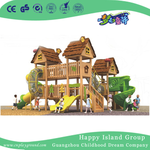 Outdoor New Design Wooden Playhouse Playground With Slide (1906901)