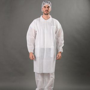 Disposable non-woven lab coat with snaps