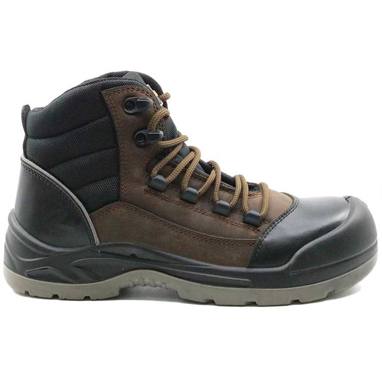 PU injection slip resistant anti static steel toe safety leather shoes