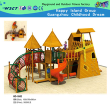 Family Climbing Plastic Slide Wooden House Playground on Promotion (HD-5502)