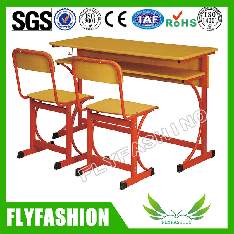 School Wood Furnitures Double Student Desks and Chairs Set (SF-20D)