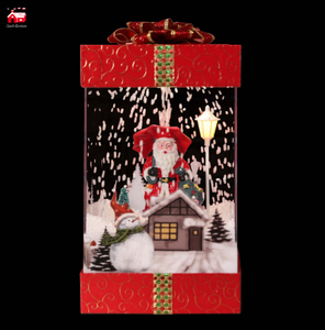 Red House Falling Snow Musical Gift Box for Christmas with Top And Bottom Cover