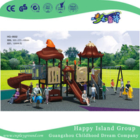 Outdoor Small Brown Vegetable Roof Children Slide Playground with Swing Equipment (HG-9502)