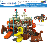 Popular Outdoor Galvanized Steel Playground With Plastic Children Slide Equipment(HA-04901)