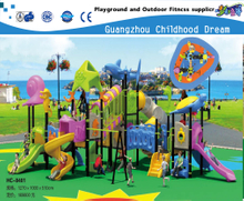 Large Children Animal Sea Breeze Galvanized Steel Playground Set with Plastic Slide Equipment (HC-8401)