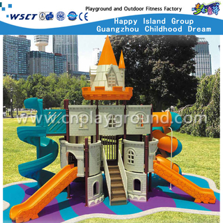Middle Outdoor High Tube and Spiral Children Slides Castle Galvanized Steel Playground(HA-08801)