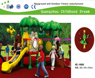 2013 new design middle size tree roof full plastic toddler school playground set for sale