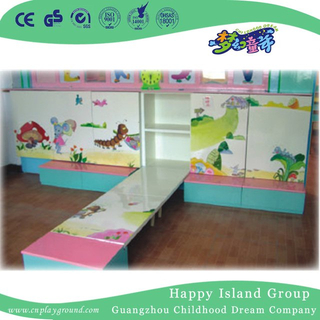 Wonderful and Colorful Painting Solid Wooden School Bed On Wall with Cabinet (HG-6401)