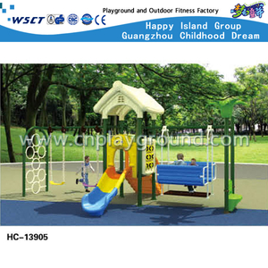 Outdoor Cartoon Children Swing Combination House Playground (HC-13905)