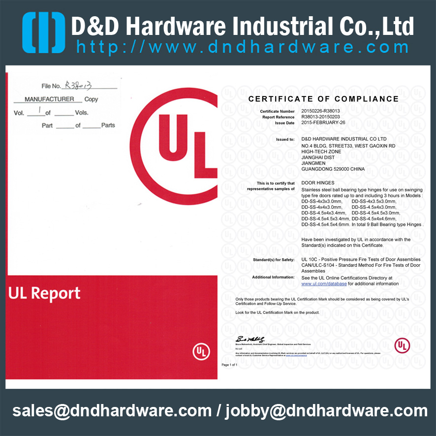 SS Grade 304 Four Ball Bearing Fire Rated Door Hinge with UL Certificate for Metal Door-DDSS003-FR-454034