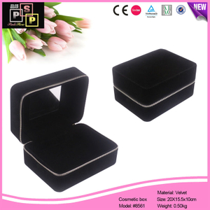 Black Velvet Hand Made Zipper Closure Gift Storage Box