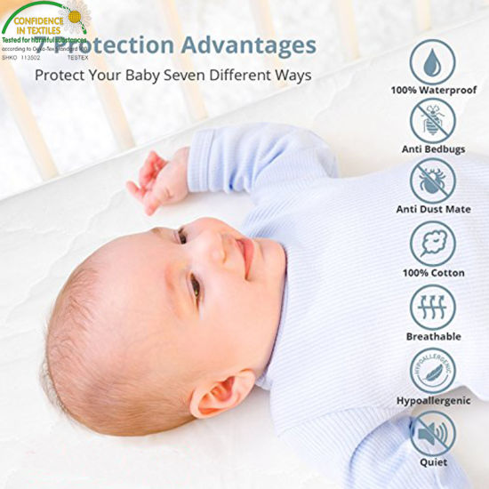 Made in China Hypoallergenic Waterproof Quilted Crib Mattress Pad Cover