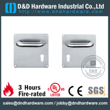 Stainless Steel 304 Lever Handle Euro Profile on Square Plate 170x170mm for Steel Door -DDTP001