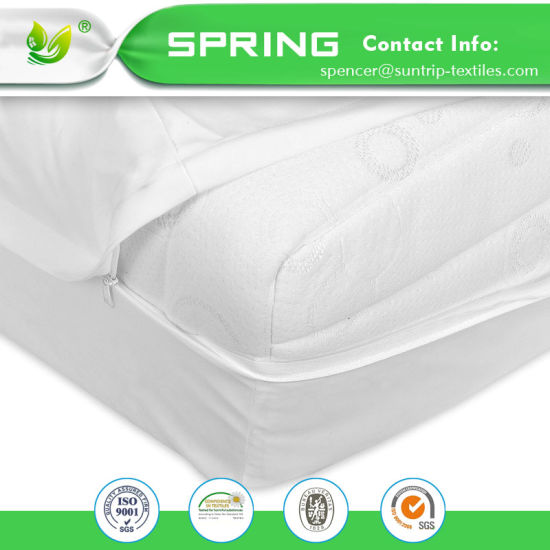 Hangzhou Textile Cotton and Polyester Twin Size Mattress Cover Anti-Dust Mite Mattress Encasement with TPU