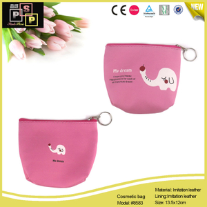 Pink Color Printing PU leather Zipper Jewelry Pouch