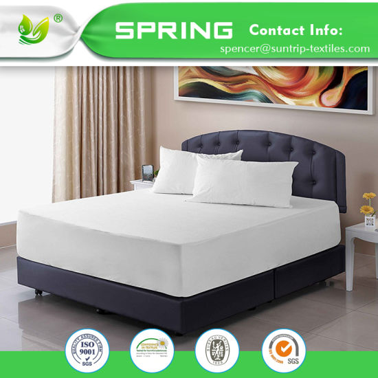 100% Waterproof Mattress Protector with Cotton Terry Surface Bed Bug Proof Vinyl Free