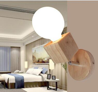 modern wood wall bracket light with glass lamp shade(KAW1017)