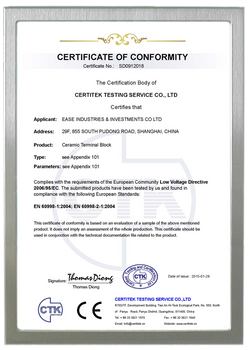 CE CERTIFICATE FOR CERAMIC TERMINAL BLOCK