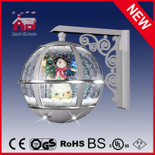(LW30033L-SS01) Silver Round Wall Lamp for Christmas Snowman Decoration with LEDs
