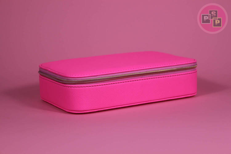 Hot Pink Pu leather Zipper Closure Jewelry Box With Hook