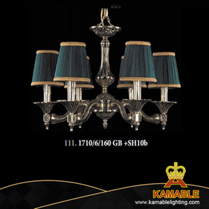 European Decor Restaurant Lampshade Brass Chandelier (1710/6/160 GB +SH10b)