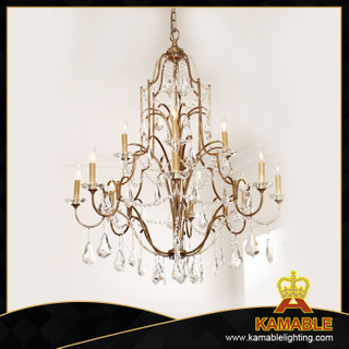 Ethereal crystal metal frame antique pendant light (GD1070-8+4)