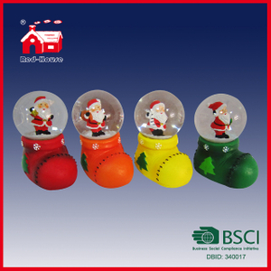 Wholesale Cheap Christmas Decoration Santa Claus Snow Globe with Blowing Snow and LED Lights