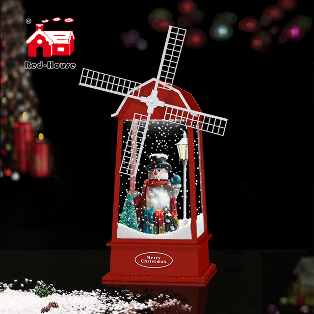 Snowing Christmas Windmill Lantern with Melodies for Holidays Decor