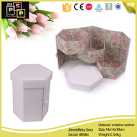 Pink White Hexegon 3 ply PU leather printing cotton inside jewelry box
