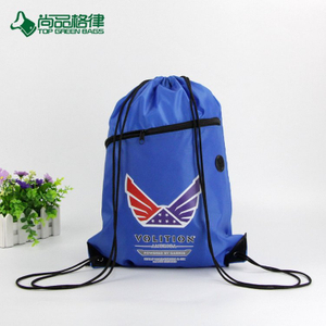Hot selling Drawstring Backpack With Front Pocket and Earphone Hole(TP-DB309)