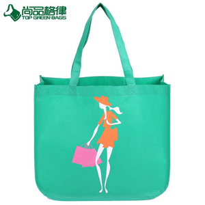 New fashion portable green color fancy non woven eco tote shopping bag (TP-SP679)