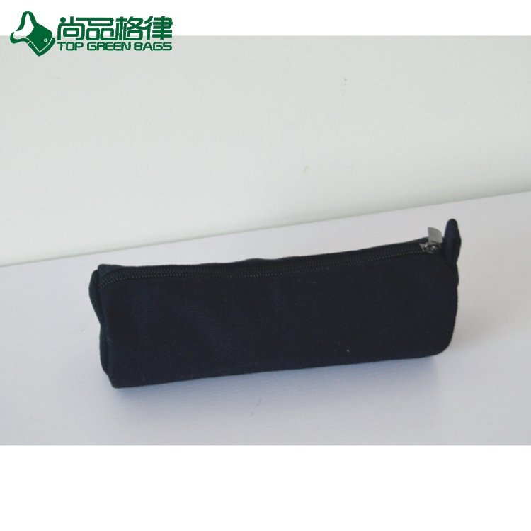 Hottest Custom Canvas Pencil Case Cotton Zipper Round Pencil Bag (TP-PCB055)