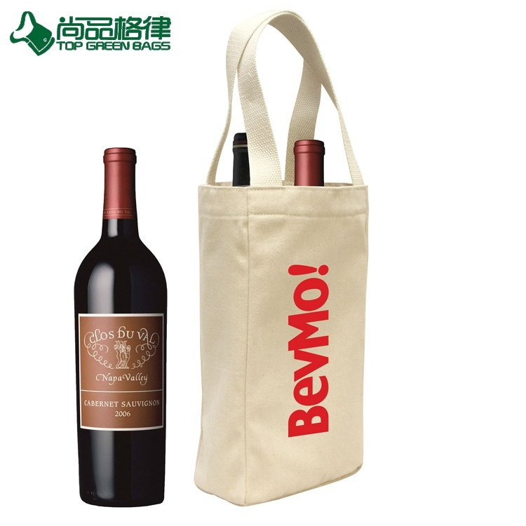 Reusable Cotton Canvas Shopping Tote Wine Bag Two Pack Bottle Wine Bag (TP-WB123)