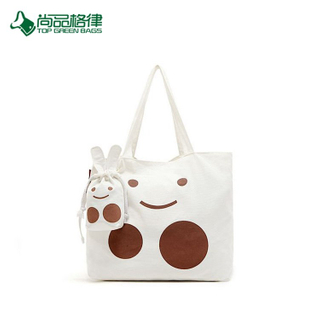 2017 Custom High Quality Recycled Cheap Cotton Rabbit Foldable Shopping Tote Bag With Pouch