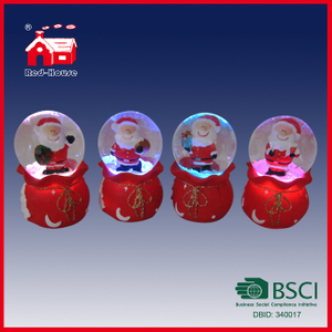 Colorful LED Christmas Snow Globe with Santa Claus Inside