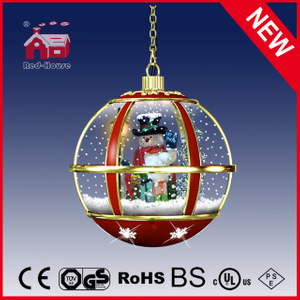 (LH30033G-RJ11) Hanging Snowglobe Lamp Snowman Inside with Eight LED Lights