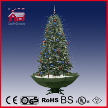 (40110U190-GW) Holiday Decoration Snowing Christmas Tree with Umbrella Base