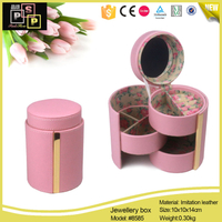Pink White Round Tube Mirror Metal Frame 3 Ply Jewelry Box