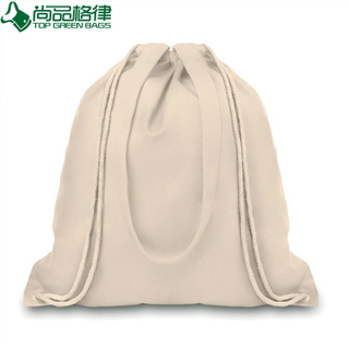 White Organic Cotton Canvas Drawstring Backpack Bag (TP-dB161)